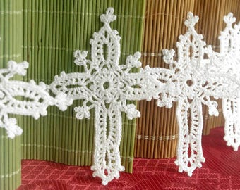 Cross ornament Crochet ornament decorations Religious ornaments Christmas decor Easter decor Baptism ornament Hanging ornament