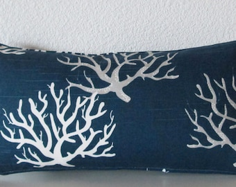 Pillow Cover - Navy Blue - nautical - corals - Cushion Cover