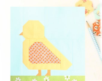 Baby Chick Chicken Farmgirl Bird Animal PDF Quilt Block Pattern - Includes instructions for 6 inch and 12 inch Finished Blocks