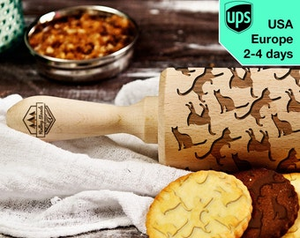 Cats - laser engraved rolling pin, embossing rolling pin