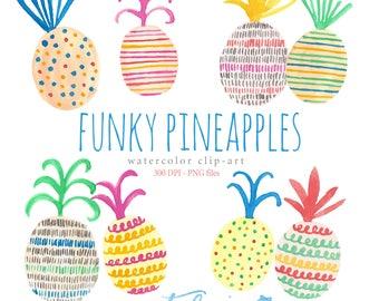 Watercolor Clip Art, Funky Pineapples, Fruit, Fun, Food, Patterns, Scrapbook, Citrus, Tropical, Hawaii, Stripes, Dots, Yummy
