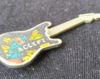 Accept , Balls to the Wall, vintage 80s guitar pin .
