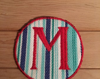 Stripe Iron-On Monogram, Embroidery Letter M