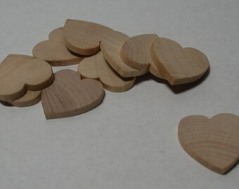 "1"" Wood Heart - Set of 10 Unfinished Wood Hearts - 1/8"" Thick"