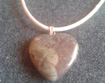Adjustable jasper heart necklace
