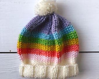 Newborn Rainbow Baby Hat Hand-Knit Beanie with Pom