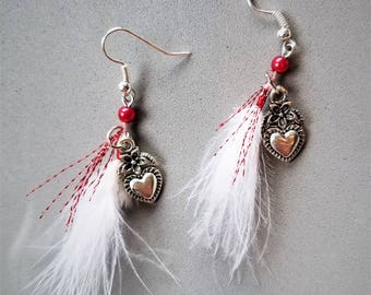 White Feather and Heart Earrings