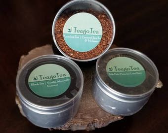 3 Pack Loose Tea in Metal Tins - Rooibos Caramel Sea Salt & Molasses, French Vanilla and Pistachio Lime Yerba Mate Tea