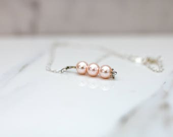 Pearl Necklace - Pink Pearl Necklace - Rose Pearl Necklace - Dainty Necklace - Simple Necklace - Minimalist Jewelry - Dainty Jewelry