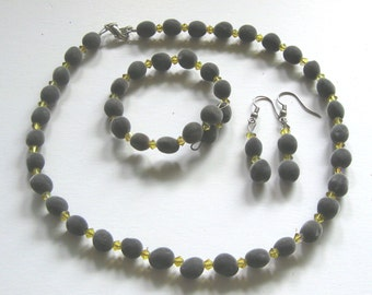 Jewelry set, Hawaiian mgambo seeds and Lime AB Swarovski crystals, handmade in Hilo, Hawaii, HiloBeads