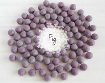 Wool Felt Balls - Size, Approx. 2CM - (18 - 20mm) - 25 Felt Balls Pack - Color Fig-3043 - Smokey Lilac Poms - Fig color Felt Balls - Pom pom