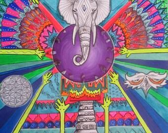 Elephant crystal grid painting *SALE*