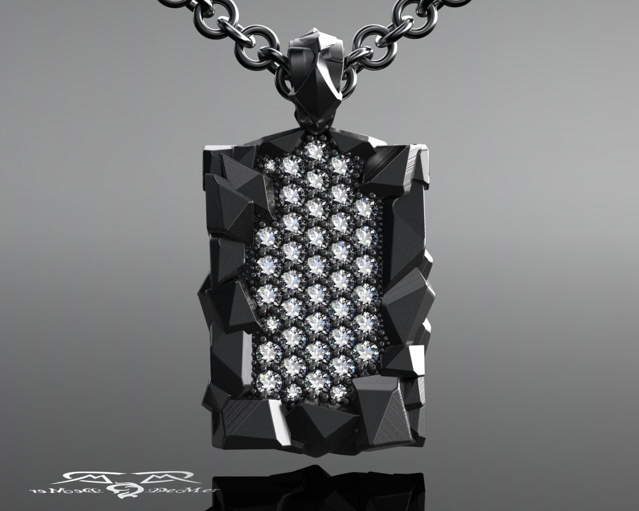 Mens Diamond Pendant Necklace 406 cttw mens diamond pendant necklace 18k organic chiseled zoom audiocablefo