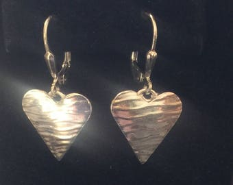 Fine Silver Heart Earrings on Sterling Silver Leverbacks FREE USPS Priority Mail Shipping
