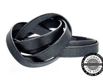 """Genuine Leather Strap, Folded Charcoal Gray, 6mm (1/4"""" inch) 3 yards (108"""" inches)  (1719)"""