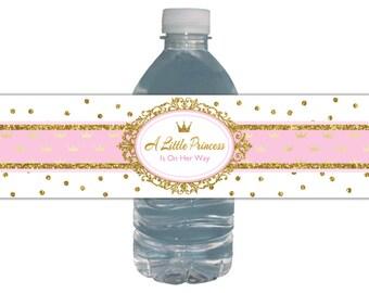 Water Bottle Labels Royal Princess Baby Shower Pink, Gold Glitter, Crown / Printable Digital Labels / INSTANT DOWNLOAD