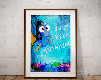 Dory Just Keep Swimming Wall Art Disney Pixar Movie Painting Wall Art Print