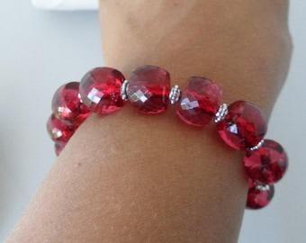 Dark Red Bracelet Wine Bracelet Plastic Bead Bracelet Translucent Bead Stretchy Bracelet Burgundy Bracelet Old Wine Red and Silver Bracelet