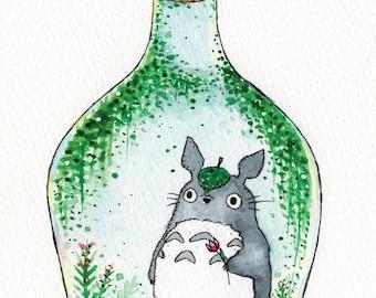 Totoro in a Bottle - Watercolour Print