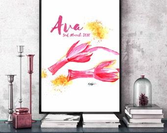 Personalized Name print Flower Personalized nursery art Custom name printable Pink nursery poster print