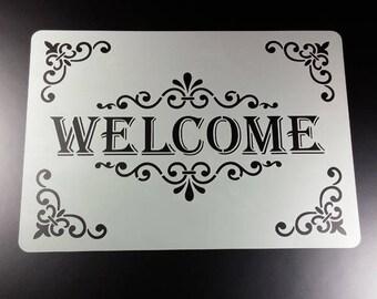 Stencil welcome Lettering Frame Frame-BS26