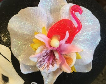 Flamingo flower etsy single sparkle white orchid with pink flamingo pinup hair flower mightylinksfo Images