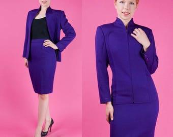 VALENTINO Vintage 80s Purple Wool Power Suit Skirt + Jacket 2pc XS/S