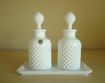 Westmoreland English Hobnail milk glass cologne bottle set & tray, English country decor, romantic dressing table, feminine vanity decor