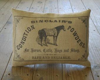 Horse Powder Burlap Pillow, Shabby Chic, Farmhouse Pillows,  Horse23, INSERT INCLUDED