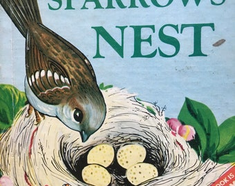 The Sparrows' Nest Rand McNally 1960s Springtime Birds Nest