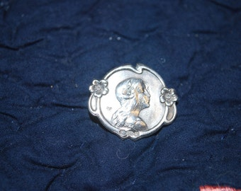 Art Nouveau Lady Face Brooch / Pin  Signed and Hallmarked