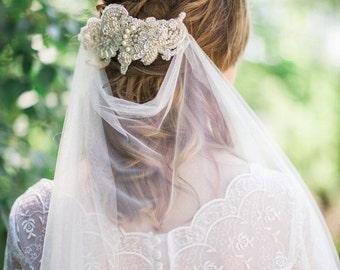 Bridal lace headpiece, embroidered Alencon lace headpiece, wedding lace hair piece, bridal lace comb, wedding lace comb,  Style 298