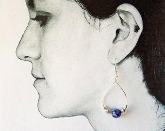 Sodalite hoop earrings - royal blue earrings - Sodalite earrings - beaded hoop earrings - hypoallergenic earrings - boho hoop earrings - UK