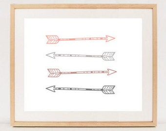 Arrows wall art - Arrows Pink Home Decor - Arrows Wall Print - Girlish room decor - INSTANT DOWNLOAD