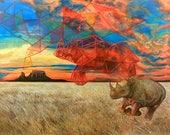18x24 African Black Rhino...