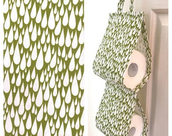 Double Toilet Roll Holder/ Toilet Paper Holder/ Bathroom Storage - Green Raindrops