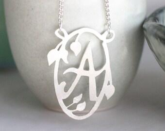 Handmade Decorative Initial Necklace - Flowers