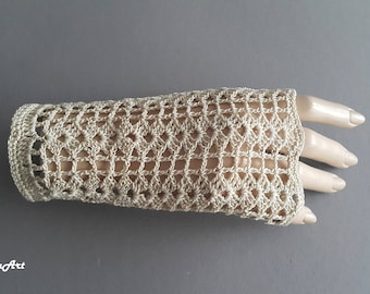 Crochet Mittens, Fingerless Gloves,Light Beige, 100% Mercerized Cotton.