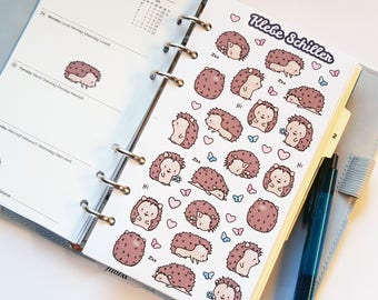 80001 Hedgehog stickers for Filofaxing & scrapbooking, kawaii, Planner, stationary, cute