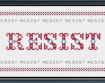 Resist Subversive Cross Stitch PATTERN PDF FILE