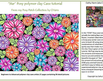 """Star"""" Posy polymer clay Cane tutorial From the Posy Patch Collection by CHarm"""