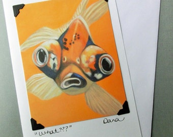 Goldfish Card - Funny Animal Art Card and Postcard - Google Eye Japanese Goldfish - 100% Proceeds Benefit Animal Charity
