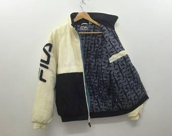 Vtg 90's Fila Big logo spellout embroidered fullprint inside puffer Jacket Polo sport Tommy Hilfiger Nike Adidas Nautica Hip hop gangsta rap
