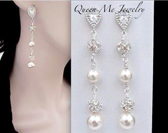Long pearl chandelier earrings Sterling posts Brides earrings Jewelry Elegant wedding earrings Swarovski pearl earrings Chandelier DESTINY