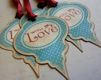 With Love Christmas Ornament Tags Vintage Style Set of Five