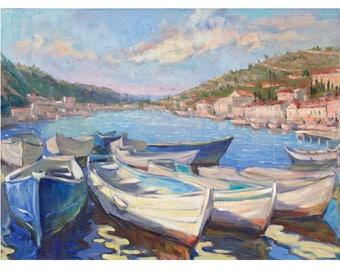 Boats art Original painting White Blue boat IMPRESSIONISM Oil landscape PLEIN AIR Oil Seascape Bright colors Oil on csnvas by A. Onipchenko