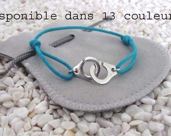 handcuffs bracelet with blue turquoise ajustable cord