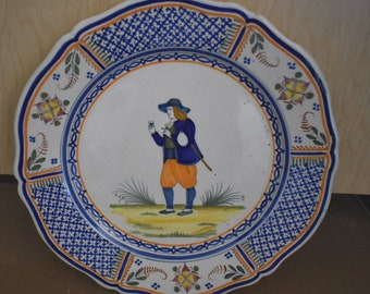 Henriot Quimper Croisille Plate of a Peasant Man, Circa 1930 French Faience Pottery 9.5 inch Diameter  #18276