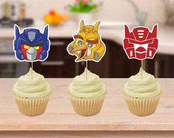 Angry Bird Transformers Party Cupcake Toppers Printables Download Cake Topper