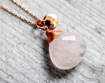 Rose Quartz rosé gold plated necklace (VIK-10)